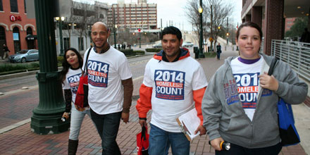 UHD students participating in 2014 Homeless Count event