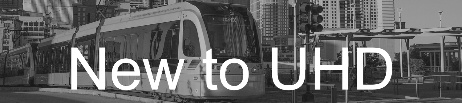 Monorail in black and white with New to UHD text on top