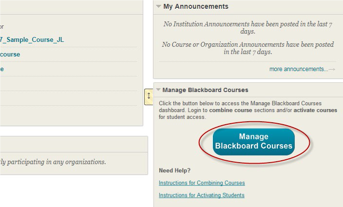 a screenshot of the Manage Blackboard Courses