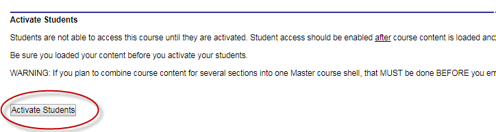 a screenshot of the activiate students button