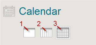a screenshot of the 3 calendar view icons