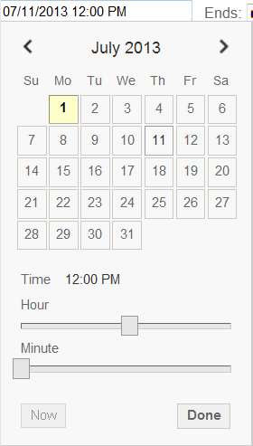 a screenshot of the Start and End Date picker in the Create Event dialogue box