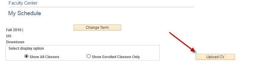 a screenshot of the Upload CV button in Faculty Center