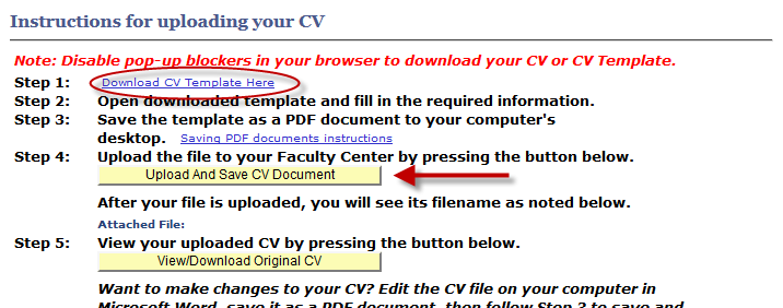 a screenshot of the Download CV template link and the Upload and Save CV document link