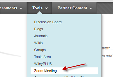 a screenshot of the Zoom Meeting under Tools in Build Content