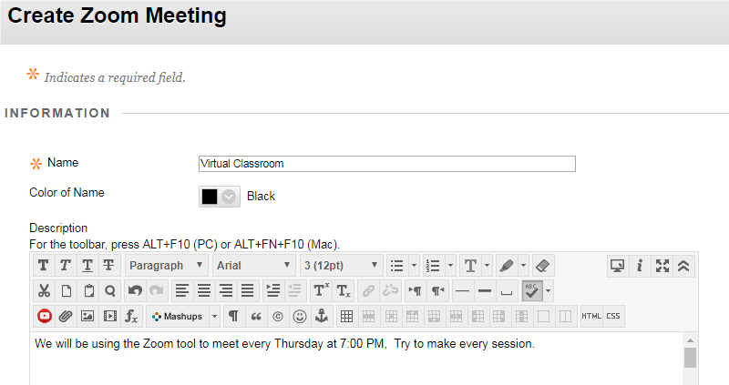 a screenshot of the Create Zoom Meeting dialogue box