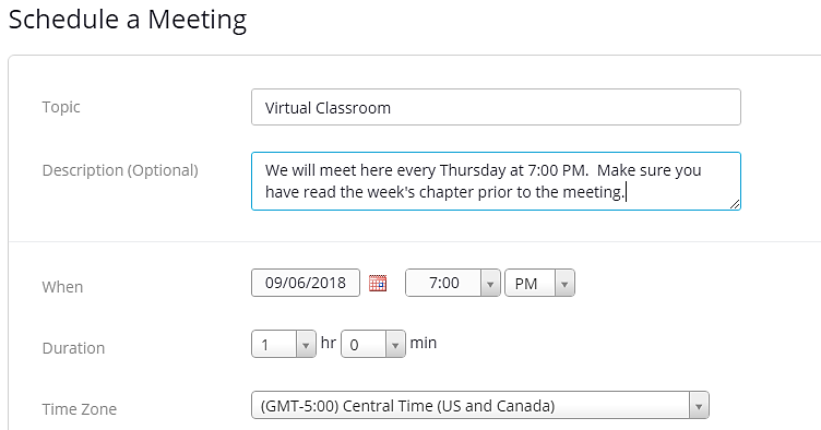 a screenshot of the Schedule a Meeting dialogue box