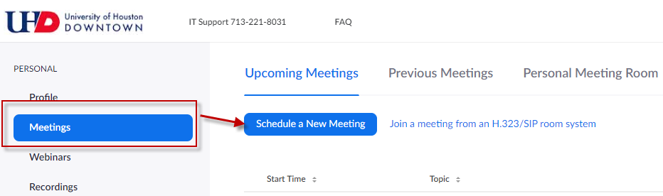 Schedule a new meeting on the Meetings Tab