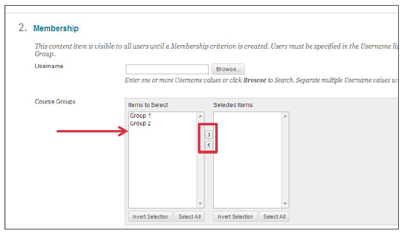 a screenshot of the Membership screen with the Items to Select area highlighted by a red arrow