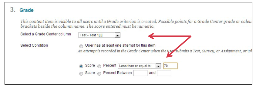 a screenshot of the Grade menu with the selection drop down menu and the Score options highlighted by a red arrow