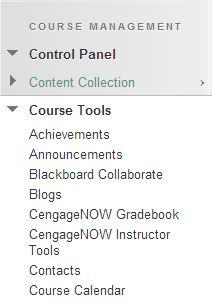 a screenshot of the Course Tools drop down menu expanded
