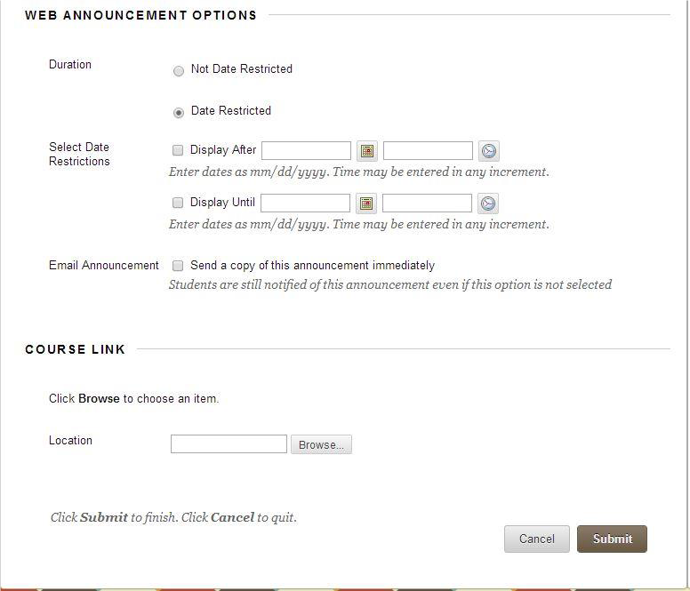 a screenshot of the Web Announcement Options and the Course LInk section of the Create Announcement process