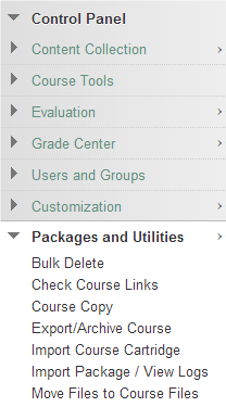 a screenshot of the Control Panel with Package and Utilities option expanded