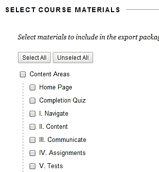 a screenshot of the Select Course Materials options