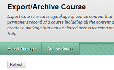 a screenshot of the Export/Archive Course area with the Refresh button visible