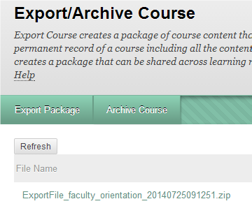 a screenshot of the Export/Archive Course area with the Exported File available