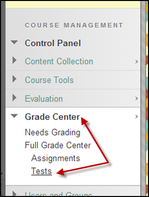 Select Grade Center then Tests