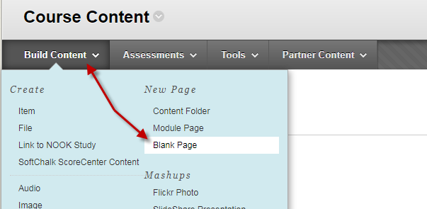 Build Content Select Blank Page