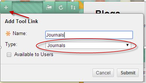 Add a Journal Tool Link
