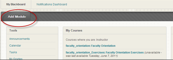 Add Module if browser test is not listed on Blackboard dashboard