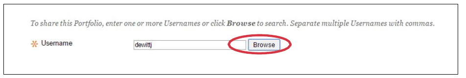 a screenshot of the Browse option circled in red