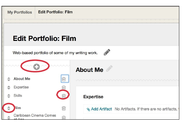 a screenshot of the edit portfolio menu with options circled in red