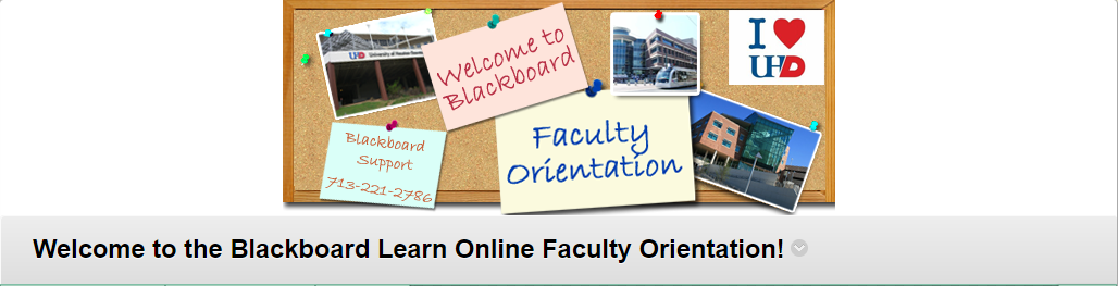 "banenr that can appear at the top of the course. The image says ""welcome to blackboard"" and ""faculty orientation"""