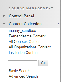 Expanding a subsection of the panel gives you multiple options as well. Content collection mostly deals with the top two options