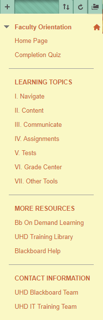 content menu list which has various subheaders, content menu options, and a dividing lines between varios topics.