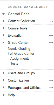 course management panel with its Grade Center options expanded. Click Full Grade Center.