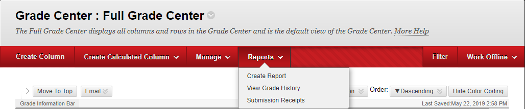 "In the full grade center there will be 4 tabs, the last one is Reports. Hover over it and click ""Create Report"""