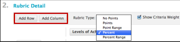 select rubric type and add columns and rows