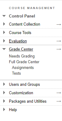 Course management control panel, click on Grade Center to expand, then click on Full Grade Center.