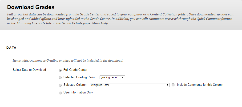 Download Grades set up page, Data has options for what part of the grade center to download.