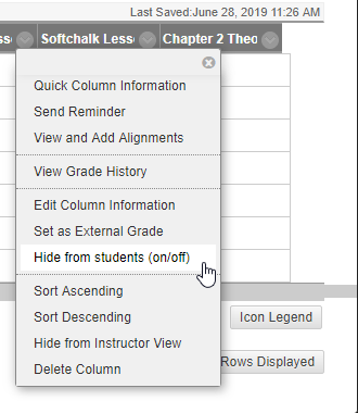 "From the list of options in the dropdown menu the cursor is hovering over ""Hide from students (on/off)"""