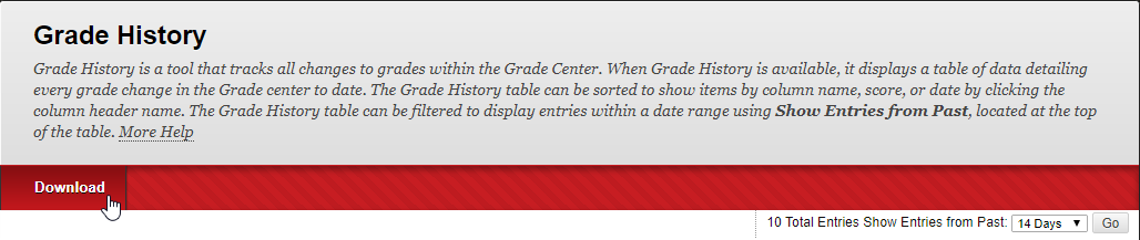 The Grade History page has an option on the top left portion that allows you to Download the Grade History Spreadsheet.