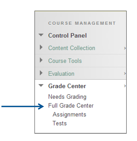 a screenshot of the Grade Center drop down menu expanded and Full Grade Center selected