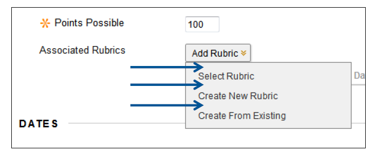 a screenshot of the Add Rubric drop down menu with its 3 options