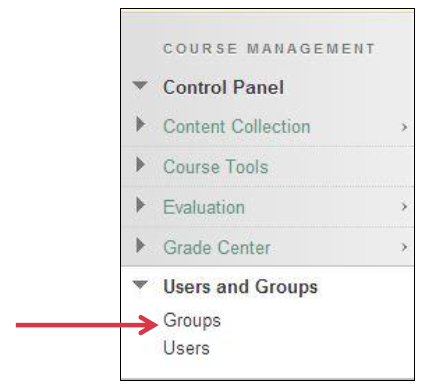 a screenshot fo the Course Management menu showing Users and Groups expanded
