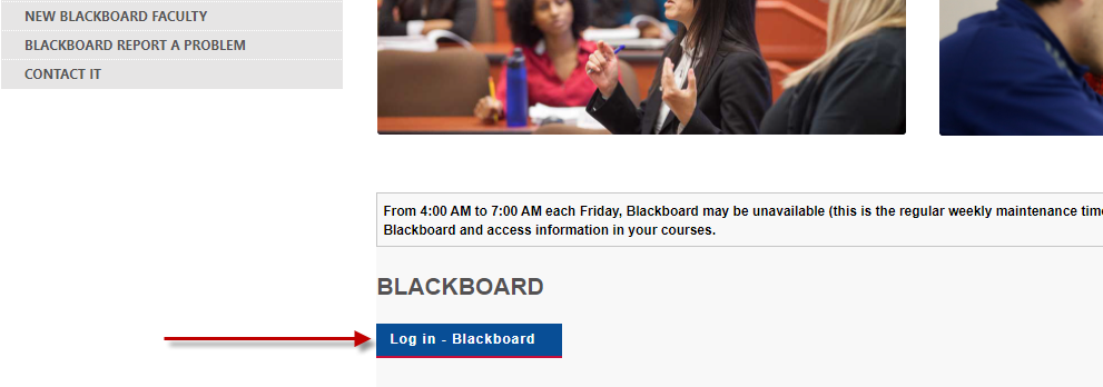 The Computing page with navigation buttons on the left and in the main area you can choose to log into Blackboard 1 and 2