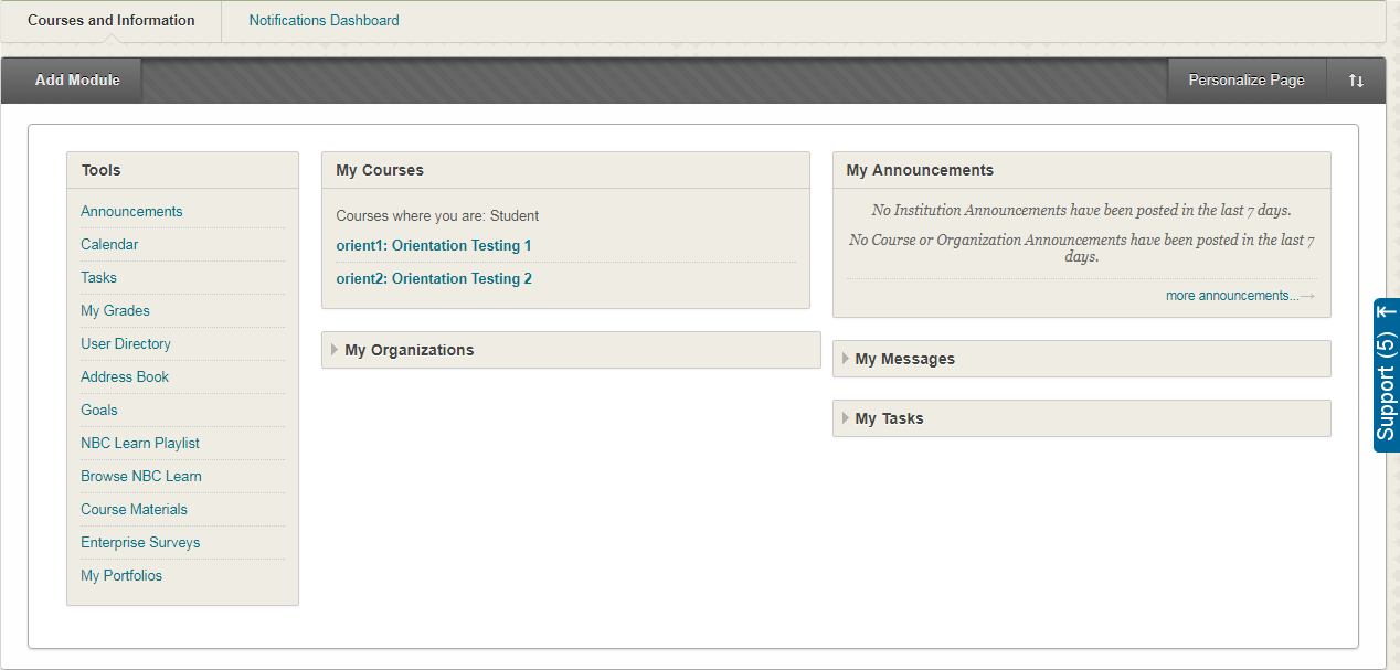 a screenshot of the Blackboard Home Page