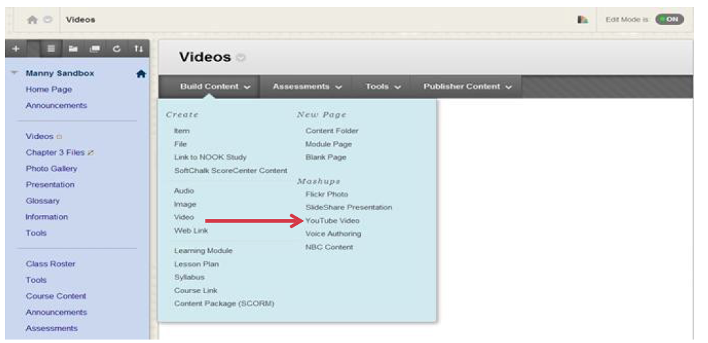 a screenshot of the Build Content drop down menu with YouTube Video selected