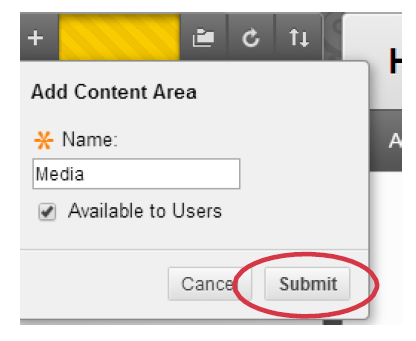 a screenshot of the Add Content Area creation dialog box with submit highlighted
