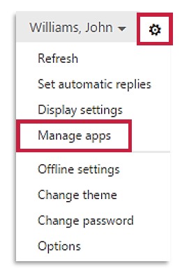 a screenshot of the Options drown menu with Manage Apps highlighted