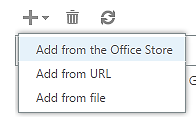a screenshot of the Add Application drop down menu and the Add from the Office Store command highlighted