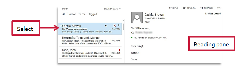 a screenshot of the outlook mail being selected and the reading pane appearing on the right