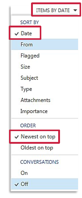 a screenshot of the ITEMS BY drop down menu with Sorty By Date and Order Newest on Top selected