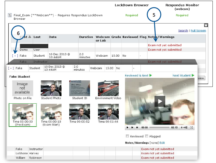 The video review dashboard shows the images and video clips of the student's attempt.