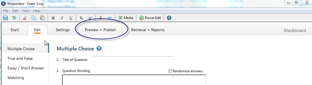 Select preview and publish tab within Respondus Campus Wide.