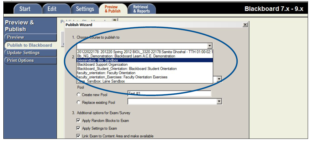 Publishing to Blackboard, choose a course from the dropdown list.